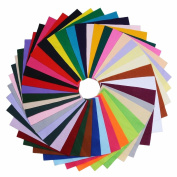 DIY Acrylic Soft Felt Fabric Squares Sheets Assorted Colours 12x12 inch for Crafts, 1.5mm Thick 40Pcs