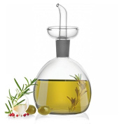 Glass Oil / Vinegar Bottle with Drizzler Pourer - Condiments Cruet Salad Dressing Bottle