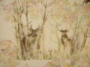 A4 Sample Voyage Decoration Enchanted Forest Deer Linen Floral Designer Curtain Upholstery Fabric