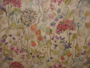 A4 Sample Voyage Decoration Hedgerow Linen Floral Designer Curtain Upholstery Fabric