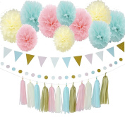 31pcs Baby Blue Pink Cream Gold Tissue Paper Pompom Gender Reveal Party Decoration Kit with Triangle Banner Paper Tassel Garland Circle Garland for Birthday Party Baby Shower Decoration Wedding Decor