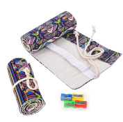 RayLineDo® 36 Holes Canvas Pencil Wrap Roll Up Pencil Case Pen Holder Bag Storage Pouch