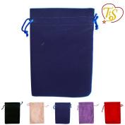 TtS Pack of 50 (Navy Blue) Velvet Pouches Wedding Bags Drawstring Jewellery Gift Packaging - 7X9cm