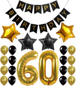 60th Birthday Party Decorations Kit, Happy Birthday Banner, 60th Gold Number Balloons,Gold and Black, Number 60, Perfect 60 Years Old Party Supplies,Free Bday Printable Checklist