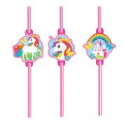 Amscan International 9902105 Unicorn Plastic Straws