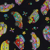 Groovy Bug VW Car Print Cotton Poplin Fabric Material - Black