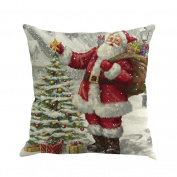 Keepwin Santa Claus Printing Pillow Cover Throw Pillowcase Cushion Cover for Sofa, Hidden Zipper, 46cm x 46cm - Pefect Christmas Gift