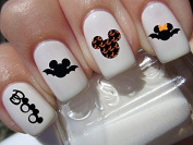 BOO halloween scary disney Mickey Mouse & Minnie Mouse bats heads nail art waterslide decals nail design set #h5