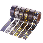 Scrox 6 Rolls Fashion Tape Stickers Bronzing Adhesive DIY Sticker Paper Decorative Tapes for DIY Arts and Crafts, Scrapbook, Planners and Room decoration