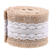 WCIC Burlap Lace Gift Ribbon DIY Wrapping Roll Natural Jute Trims Package Tape Wedding Party Décor 2mX5cm 2 Roll