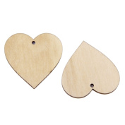 Kingken 25 Pcs 40mm Blank Wooden Heart Shaped Embellishments for Crafts Accessories