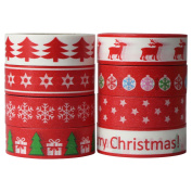 UOOOM 8 pcs 10m x 15mm Christmas Decorative Washi Masking Tape Red Different Patterns Sticky Tape for Scrapbooking DIY Craft Gift Decoration