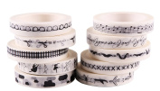 10 Rolls Black & White Decorative Tapes Scrapbook Paper Masking Sticker Photo Album Washi Tape 9MM*7M