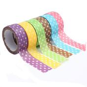 Bodhi2000 6 Rolls Polka Dot Self Adhesive Tapes Masking Sticker Scrapbook Craft DIY Decorative