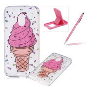 Glitter Case for Moto G4 Play,Crystal TPU Cover for Moto G4 Play,Herzzer Ultra Slim Creative [Ice Cream Cone Pattern] Bling Sparkly IMD Design Shock-Absorbing Soft Silicone Gel Bumper Cover Flexible TPU Transparent Skin Protective Case