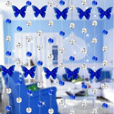 Glass Crystal Curtain, Xinantime 1M Luxury Living Room Bedroom Window Door Wedding Decor (Blue)