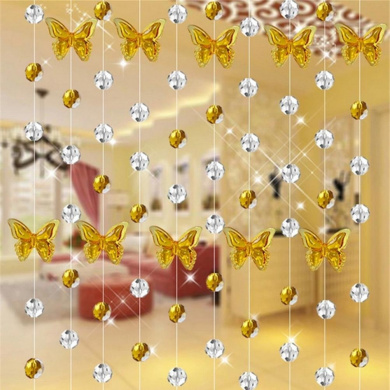 Glass Crystal Curtain, Xinantime 1M Luxury Living Room Bedroom Window Door Wedding Decor (Yellow)
