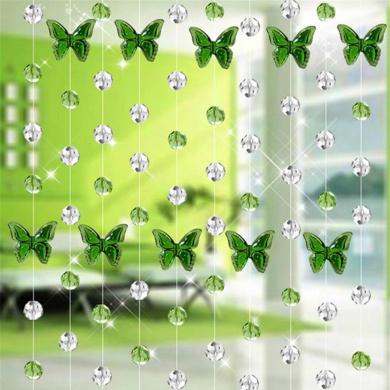 Glass Crystal Curtain, Xinantime 1M Luxury Living Room Bedroom Window Door Wedding Decor (Green)