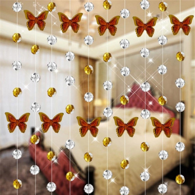 Glass Crystal Curtain, Xinantime 1M Luxury Living Room Bedroom Window Door Wedding Decor (Brown)