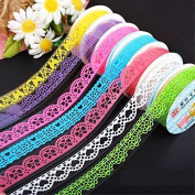 10pcs Roll Decorative Sticky Adhesive Lace Cotton Tape for DIY Craft