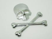 Duojincai Creative 3D Crossbones Skull Bone Emblem Metal Decals Stickers For All kinds Of Car