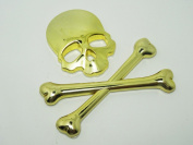 Duojincai Metal skull head car stickers 3D stereo head cross-golden
