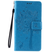 Honour 4X Case, Huawei Honour 4X Wallet Case, BONROY [Kickstand] Retro Flip Case, Elegant Vintage Pressed Tree Cat Butterfly Pattern Design Premium PU Leather [with Lanyard Strap/Rope] Stand Function Card Holder and ID Slot Slim Fit Protective Case Cov ..