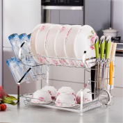 Dish Plates Cups Drainers 2 Tier 304 Stainless Steel Mug Holder Cutlery Drainer Rack Holder Shelf Storage , B