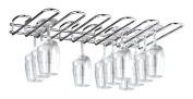 CKB Ltd® 5 Row Under Cupboard Counter Wall Mounted Glass Rack 42 x 7 x 32 cm - Holds any type of Stemware Glassware Wine Glasses and Flutes