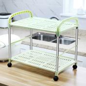 Stainless steel microwave oven rack / oven rack / kitchen rack / storage shelves / floor 3 layer plastic drain spice rack /