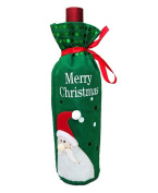 Bigood Christmas Sequins Embroider Wine Bottle Cover Party Decoration Winebottle Clothes Green