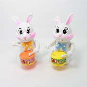 WuliRose 2 Pcs Wind Up Rabbit Drum Toys Plastic Animal Clockwork Spring Toy Educational Developmental Musical Toy for Baby Kids, Random Colours