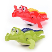 WuliRose 2 Pcs Wind Up Crocodile Bath Toys Plastic Clockwork Animal Swimming Toy Wind-up Bathtub Pool Toys for Baby Kids, Random Colours