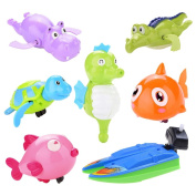 WuliRose 7 Pcs Wind Up Bath Toys Plastic Clockwork Animal Swimming Toy Wind-up Bathtub Pool Toys for Baby Kids, Random Colours