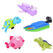WuliRose 5 Pcs Wind Up Bath Toys Plastic Clockwork Animal Swimming Toy Wind-up Bathtub Pool Toys for Baby Kids, Random Colours