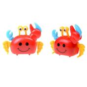 WuliRose 2 Pcs Wind Up Crab Walking Toys Plastic Clockwork Animal Walking Toy Wind-up Toys for Baby Kids, Random Colours