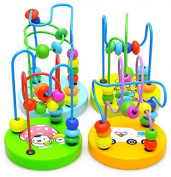 Funwill Baby wooden toy Mini around the beads Wire maze Colourful Educational game