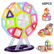 Anpress 68 PCS Magnetic Building Blocks,Building Construction Toy Stacking Toys for Boys Girls, Magnet Tiles Kits for Kids