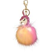 Cute Fluffy Key Chain Unicorn Pendant,Omiky® Pompom Keyring Toy Xmas Gift for Handbag Car Decoration