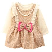 Bestanx Baby Girls Pearl Bowknot O Collar Long Sleeves Dress Lace Dress