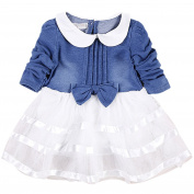 Bestanx Toddler Girls Long Sleeves Bowknot Denim Dress Baby O Neck Tutu Dress