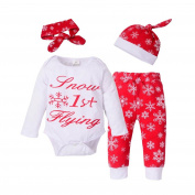 squarex Sunny Girls Boys Christmas Outfits Clothes Romper+Pants+Hat Headband Set