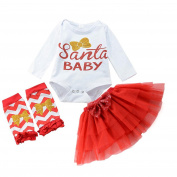squarex Sunny Baby Gril Letter Romper Christmas Gauze Dress Outfits Clothes Set
