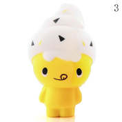 HAPPYQUDA Kawaii Squishy Ice Cream Doll Bread Super Soft Slow Rising Gift Cream Scented Toy Mobile Pendant 1PCS Yellow