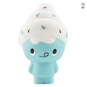 HAPPYQUDA Kawaii Squishy Ice Cream Doll Bread Super Soft Slow Rising Gift Cream Scented Toy Mobile Pendant 1PCS Blue