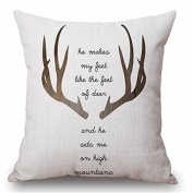 Ruikey Elk Antlers Pillow Cases Couple Nordic Style Cotton Linen Sofa Waist Car Cushion Covers for Home Decoration ,45 × 45 cm