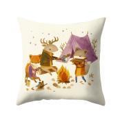 little finger Fashion Deer Antlers Print Peachskin Pillow Case Waist Cushion Cover - 7