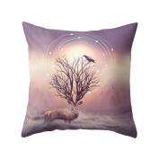 little finger Fashion Deer Antlers Print Peachskin Pillow Case Waist Cushion Cover - 12
