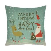 Buimin Happy Christmas Pillow Box Linen Sofa Cartoon Cushions Home Decoration