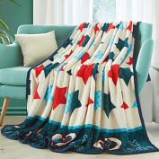 "Coral fleece Stars Polyester Cotton Blend Blankets , w59"" x l79"""